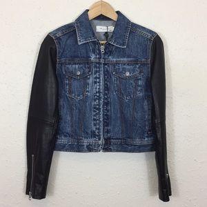 Rag & Bone Nico Zip Denim Jacket w/ Leather  Arms